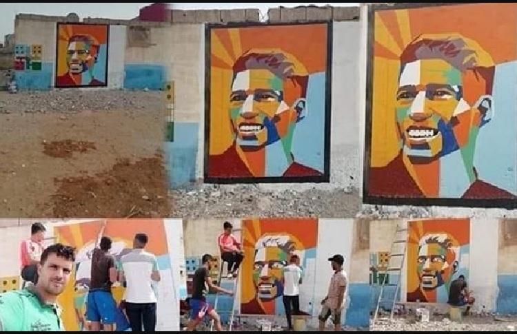 جرافيتي حكيمي يُزين شوارع المغرب بعد الإنضمام للأفاعي