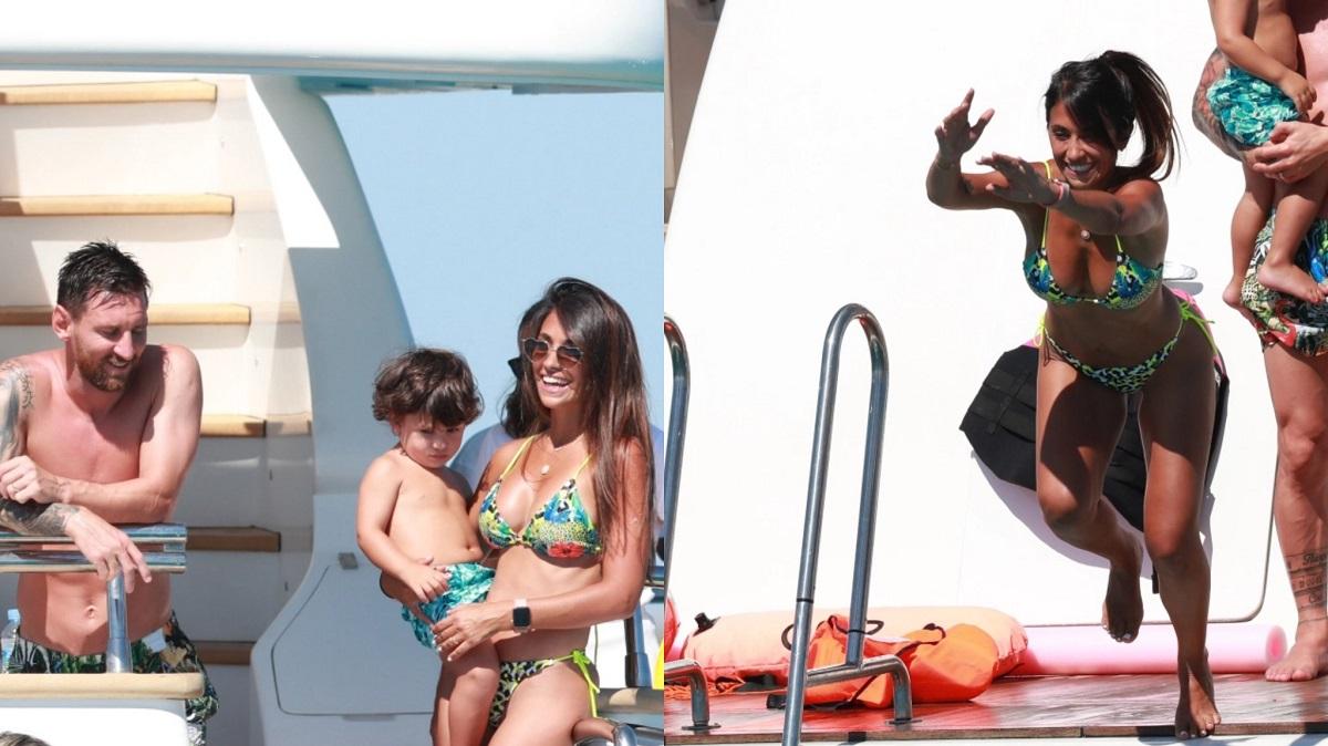 بصور مثيرة.. شاهد ميسي وزوجته فى جزيرة إيبيزا