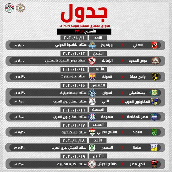 ننشر جدول بقية أسابيع الدوري ومواعيد مباريات كأس مصر
